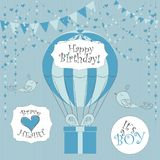 Vector Illustration. Perfect to newborn Birthday cards, postcards, stickers, labels, banners, posters and other things with balloo. N and gift box in blue colors stock illustration