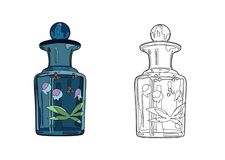 Blue perfume bottle Stock Photography