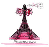 Vector illustration with perfume bottle in shape of Eifel tower Stock Photos