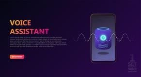 Smart voice assistant vector illustration concept, voice recognition royalty free illustration