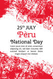 Vector illustration Peru National Day, Peruvian flag in trendy grunge style. 28 July design template for poster, banner. Flayer, greeting,invitation card Stock Photo