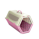 Vector illustration of pet kannel, pink cat carrier Royalty Free Stock Image