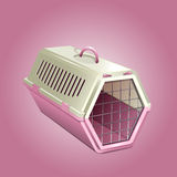 Vector illustration of pet kennel, pink cat carrier Stock Images