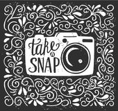 Vector illustration with photo camera and lettering. Vector illustration with lettering Take a snap. White photo camera silhouette, hand written phrase and Stock Photo