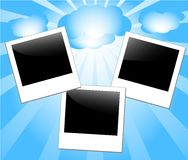 Vector illustration of photo-frames. On blue sky and sunny background Royalty Free Illustration