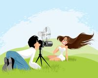 Photo shoot on nature. Vector illustration of a photo shoot on nature Royalty Free Stock Photo