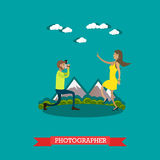 Vector illustration of photographer in flat style Stock Photography