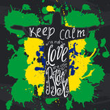 Vector illustration with phrase Keep calm and love Brasil. Poster design art with creative slogan. Retro greeting card in sketch style royalty free illustration