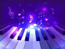 Vector illustration of piano keys, notes and sparkles Stock Photography
