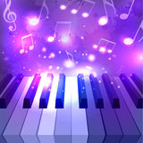 Vector illustration of piano keys, notes and sparkles Stock Image