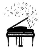 Vector illustration of a piano with notes. Keyboard musical instrument. Stylized grand piano issuing sound. Musical Stock Images