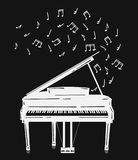 Vector illustration of a piano with notes. Keyboard musical instrument. Stylized grand piano issuing sound. Musical Stock Image