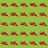 Vector illustration pieces of pizza with sausage and melted cheese on a gently green background.  vector illustration