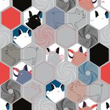 Vector illustration of pig facescombined with hexagon elements. stock illustration