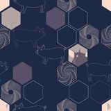 Vector illustration of pigs combined with hexagon elements. stock illustration