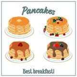 Vector illustration of a pile of pancakes. Baking with honey, chocolate, berries on a plate. Breakfast concept. vector illustration