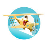 Vector illustration of pilot flying by an airplane Stock Photos