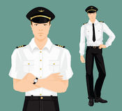 Vector illustration of pilot in formal clothes. On color background Stock Images