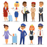 Vector Illustration pilots flight attendants. Royalty Free Stock Photo