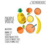 Vector illustration of pineapple smoothie recipe hand drawn in f Royalty Free Stock Image