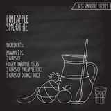 Vector illustration of pineapple smoothie recipe hand drawn in f Royalty Free Stock Images