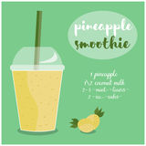 Vector illustration of Pineapple Smoothie recipe with ingredients. Royalty Free Stock Photo