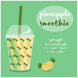 Vector illustration of Pineapple Smoothie recipe with ingredients. Vector illustration of Pineapple  Smoothie recipe with ingredients. Template for restaurant Royalty Free Stock Photo
