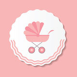 Vector Illustration of Pink Baby Carriage for Stock Photos
