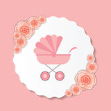 Vector Illustration of Pink Baby Carriage for Royalty Free Stock Photography