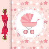 Vector Illustration of Pink Baby Carriage for Royalty Free Stock Image