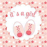 Vector Illustration of Pink Baby Shoes for Newborn Royalty Free Stock Images