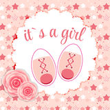 Vector Illustration of Pink Baby Shoes for Newborn Stock Photography