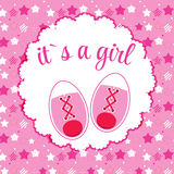 Vector Illustration of Pink Baby Shoes for Newborn Royalty Free Stock Image