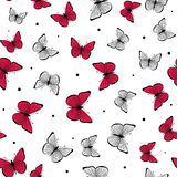 Vector illustration of pink, black and white romantic butterfly seamless pattern Stock Photo