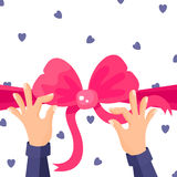 Vector illustration of pink bow and hands Stock Photos