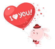 Vector illustration of pink bunny holding big red balloon  Royalty Free Stock Photography