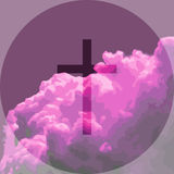 Vector illustration of pink clouds with cross Stock Image