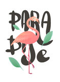 Vector illustration of a pink flamingo. Royalty Free Stock Images