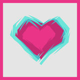Vector illustration of the pink heart. Vector grey card with pink heart Royalty Free Stock Image