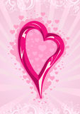 Vector illustration of a pink heart on wallpaper Stock Photos