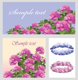 Vector illustration with pink hydrangea flowers vector illustration