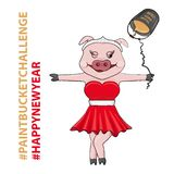 Vector Illustration of Pink Pig in Red Dress for New Year. Vector Illustration of Female Pig. New Year Character in Red Dress and Paint Bucket Challenge vector illustration
