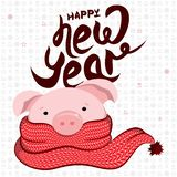 Vector illustration of a pink pig in a red scarf. Happy New Year 2019. Vector illustration of a pink pig in a red scarf with text happy new year and holiday royalty free illustration