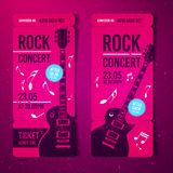 Vector illustration pink rock festival ticket design template with guitar. For music concert, events with grunge effects royalty free illustration