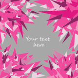 Vector illustration of pink triangles greeting card on grey background with place for your text. Hand drawn pink triangles in the corners. greeting card on grey royalty free illustration