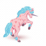 Vector illustration of pink unicorn with hearts Stock Photography