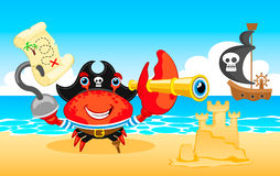 Vector illustration Pirate crab Stock Images