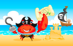 Vector illustration Pirate crab Stock Photography