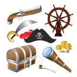 Vector illustration of pirate icon set isolated on a white background Stock Photo