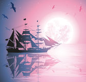 Vector Illustration of a pirate ship Royalty Free Stock Photo